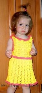 вязаный сарафан для девочки 2-3 лет