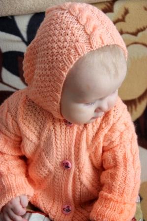 Вязание кофта для девочки капюшон 165