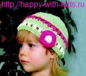 детская вязаная шапочка крючком